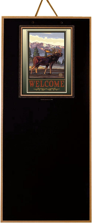 Junta Designs PCB-872 artista inspirado en pizarra, Welcome diseño de alce de Paul Lanquist (PAL): Amazon.es: Hogar