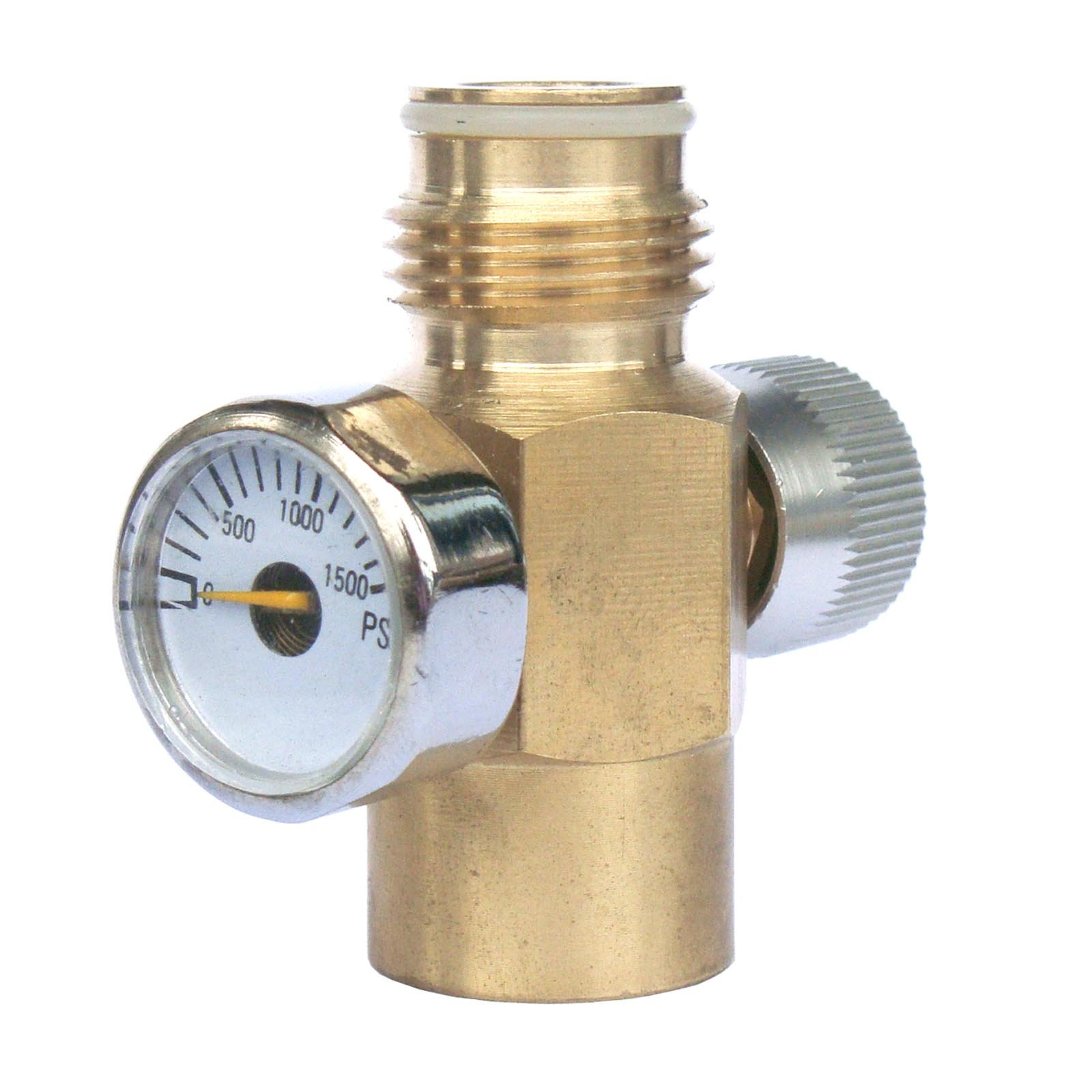 New paintball Inner Thread CO2 Tank On/Off Valve with 1500 Psi Gauge by GFSP Outdoor Sports