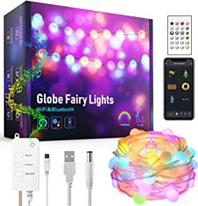 String Lights Outdoor Waterproof, Smart Globe Light, Room Wall Decor, Patio Garden Light, Color Changing, WI-FI & Bluetooth, APP Control, Music Sync, Compatible with Amazon Alexa Google Home (16.4ft)