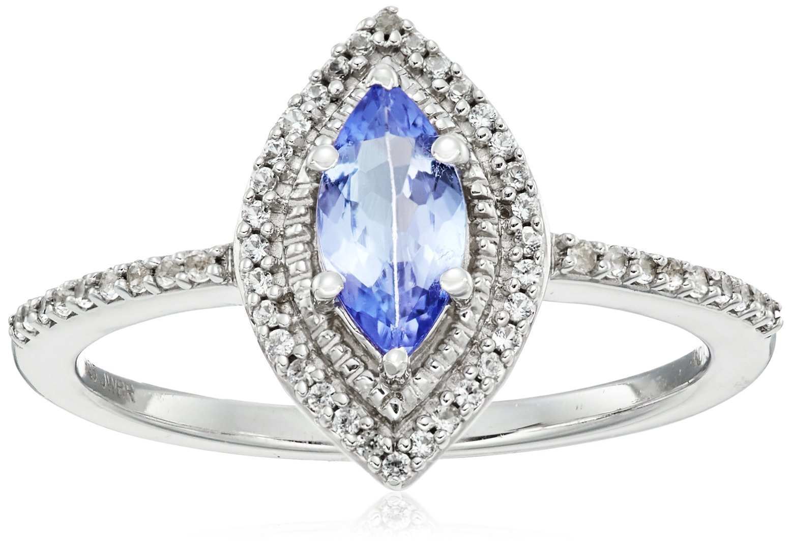 Sterling Silver Genuine Tanzanite Marquise Shape with Created White Sapphire Accent Fashion Ring, Size 7