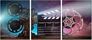 Biuteawal 3 Piece Canvas Wall Art Retro Movie Projector Picture Photo Prints Black Film Chalkboard Paintings Vintage Artwork Bar Pub Home Game Room Theater Media Room Wall Decor Gallery Wrapped