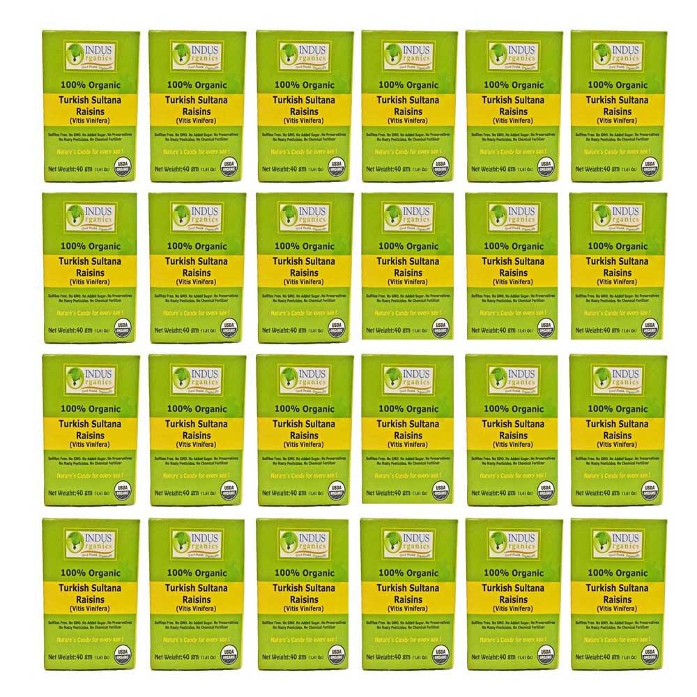 Indus Organic Turkish Sultana Raisins, 24 pack 40 gm, Sulfite Free, No Added Sugar,