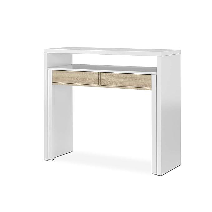 Habitdesign - Mesa Escritorio Extensible, Mesa Estudio Consola, Color Blanco y Roble Canadian, Medidas: 98,5x87,5x36-70 cm de Fondo