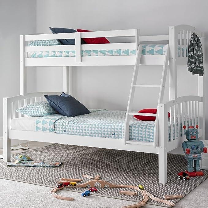 Litera americana para tres personas Happy Beds moderna de madera, mueble de dormitorio para niños, madera, Blanco, 4FT - 2 x Orthopaedic Mattresses: ...