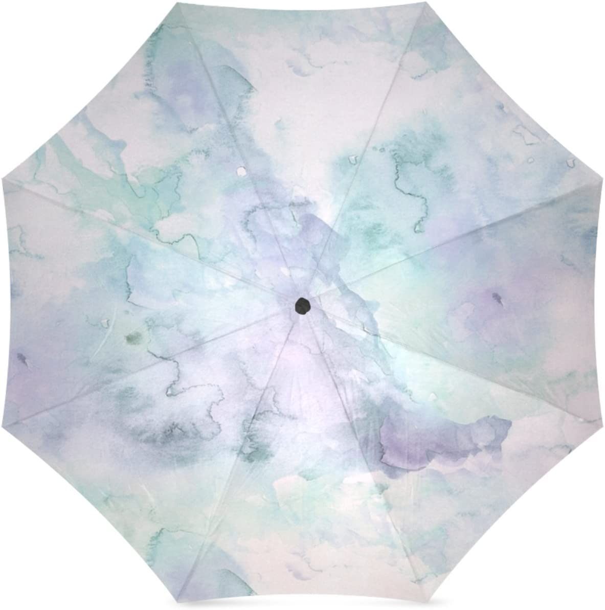 Personalized Lavender Hand Painted Foldable Umbrella Rain Compact Travel Umbrella