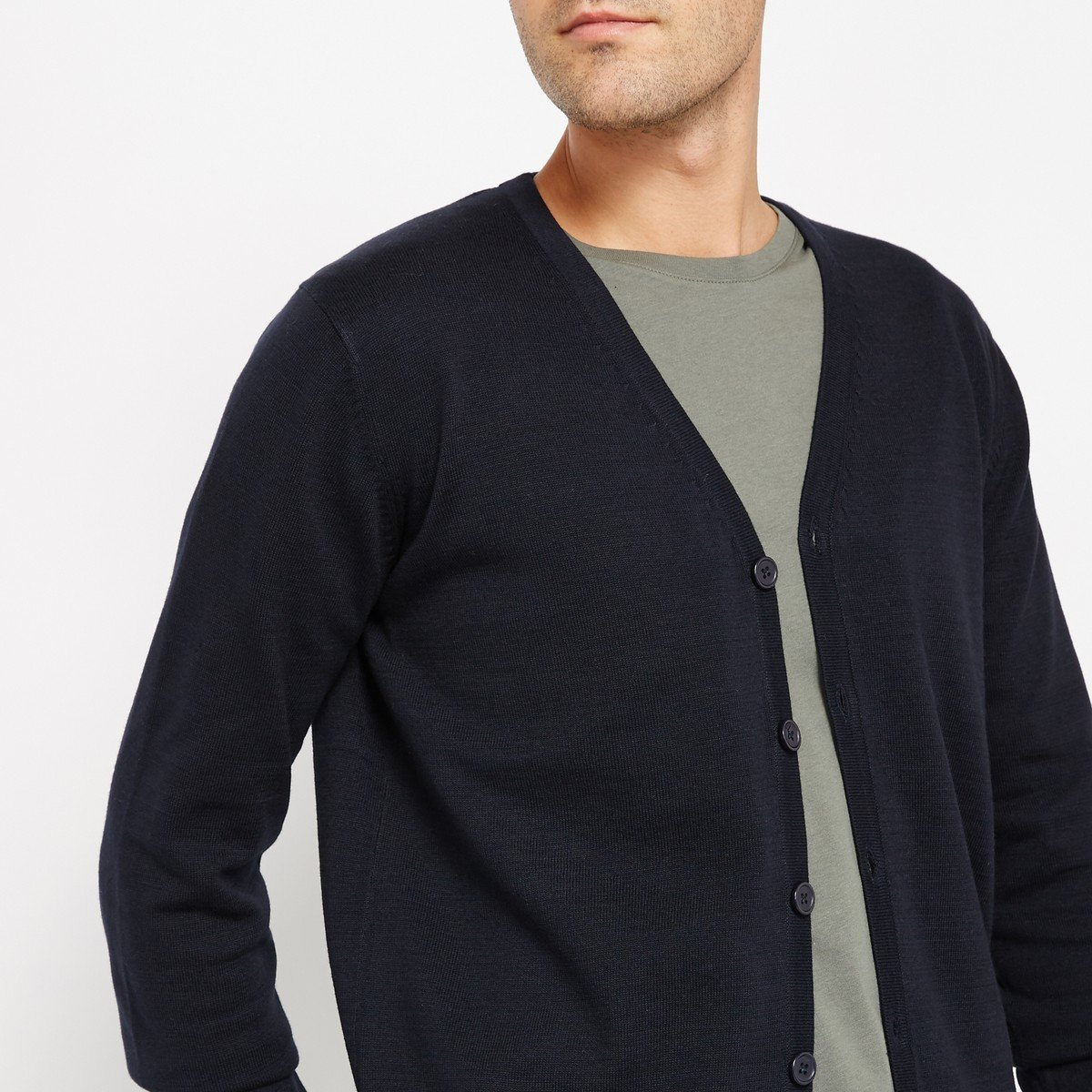 La Redoute Collections Mens Cotton Buttoned Cardigan