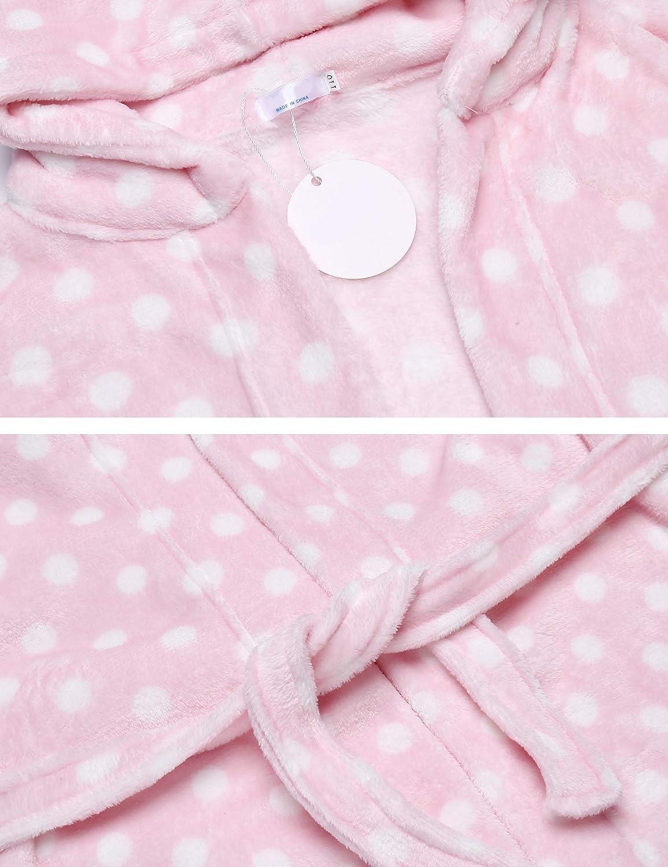 Bricnat M/ädchen//Jungen Bademantel Kinder Morgenmantel flauschig Badem/äntel mit Kapuze einfarbig Kinder Punkte Rosa//Lila//Blau//Streifen