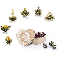 Creano theebloemen in houten doosje hartvorm 6 soorten witte thee
