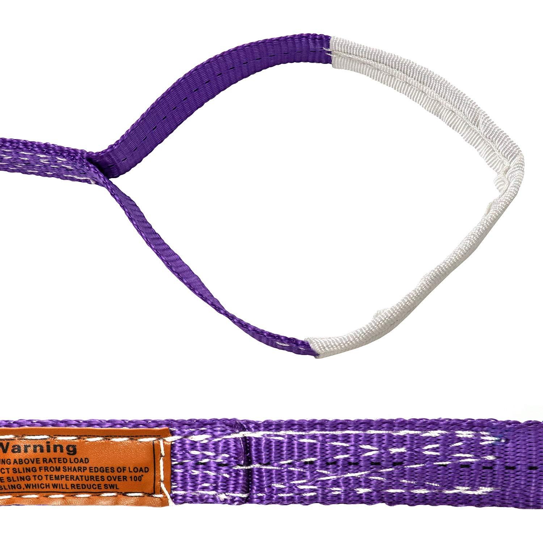 Corrosion Resistance Polyester Flat Eye-Eye Ropes Lifting Sling QWORK 1-3//16 Inch x 3-1//4 Feet Premium Lift Sling