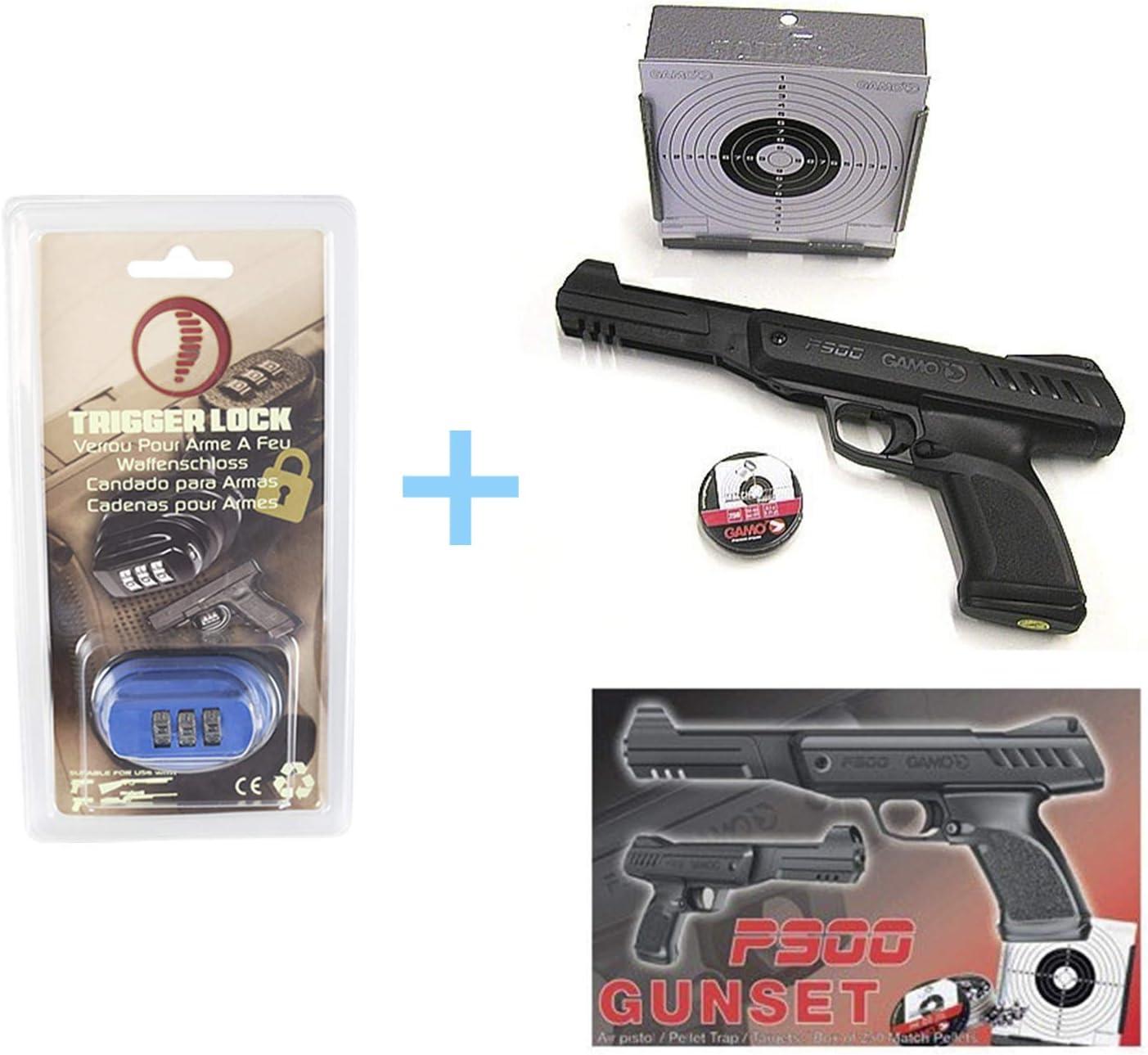 Gamo Pack Pistola Aire Comprimido P-900, Pistola de balines (Calibre 4,5 mm y Potencia 3,5 Julios), Pistola Bolas + Candado de Seguridad Yatek + Accesorios (Tragabalines, Balines Match, Dianas