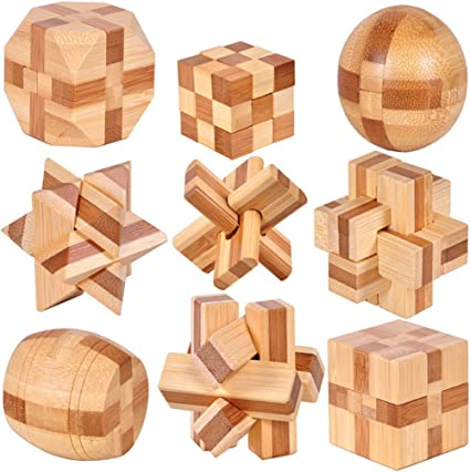 Amazon Com Volksrose 3d Wooden Cube Brain Teaser Puzzle 9 Pcs Iq Puzzles Great Educational Intelligence Jigsaw Puzzles Toys For Adult Children Challenge Your Logical Thinking Small Size 6 Toys Games