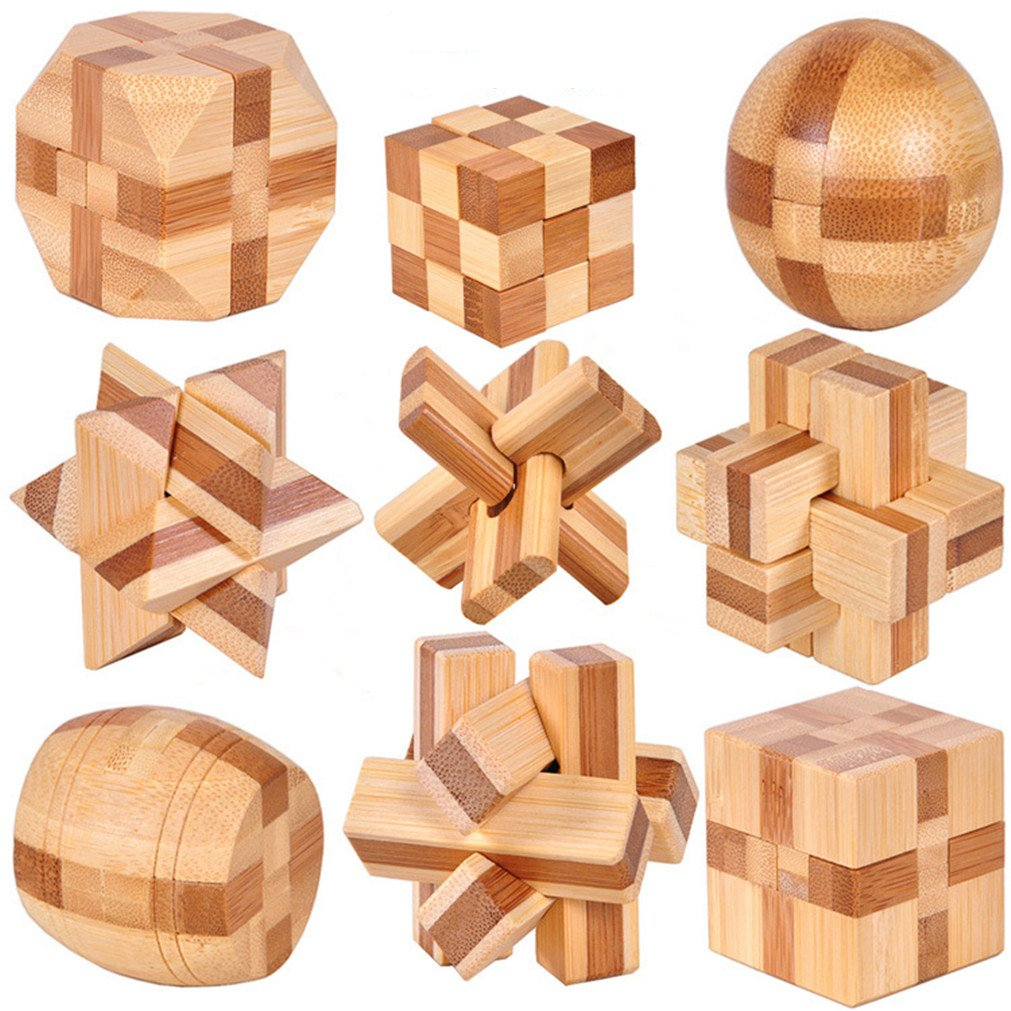 VolksRose 3D Wooden Cube Brain Teaser Puzzle 9 pcs, IQ Puzzles Great Educational Intelligence Jigsaw Puzzles Toys for Adult Children and Student - Challenge Your Logical Thinking 6