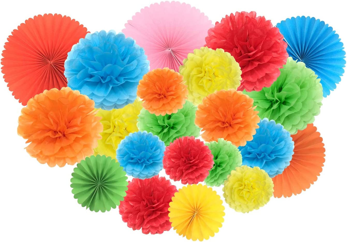 Tissue Paper Pom Poms and Tissue Paper Fans for Party Decorations Wedding Decor and Outdoor Decoration 15 Pcs Pom Poms and 6 Pcs Paper Fans …