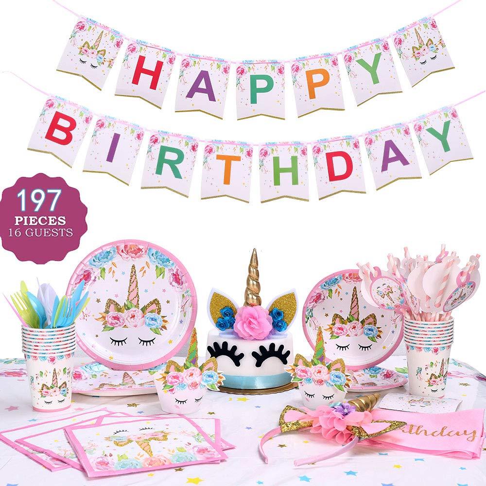 GONGYIHONG Unicorn Birthday Party Supplies Set, Serves 16, Colorful