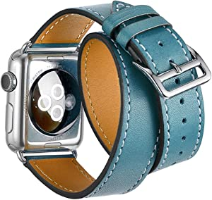 Firsteit Leather Strap Replacement Compatible with Apple Watch 38mm 40mm 42mm 44mm Genuine Leather Band for iwatch Series 6 5 4 3 2 1 Sport&Edition (Double Tour-Blue, 38mm/40mm)