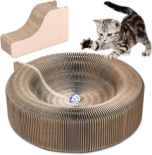 YOUTHINK Rascador de CartóN para Gatos, Cama Plegable Redonda Scratcher Lounge Cat con Bola de Campana de Juguete y Catnip, CartóN Corrugado Funcional Rascador 3 en 1 para Gatos: Amazon.es: Productos para