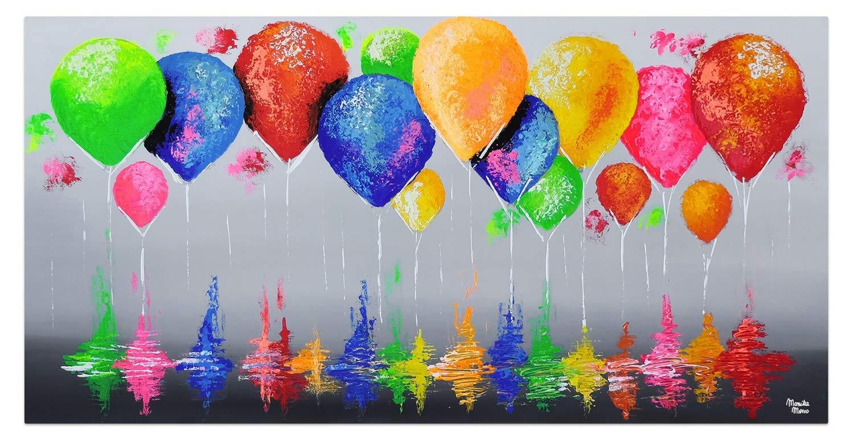 Quadro da Parete Dipinto in Acrilico Arte Moderna in Un Pezzo Palloncini Cielo Colorato Grigio KunstLoft/® Dipinto Acrilico 140x70cm Tele Originali manufatte XXL