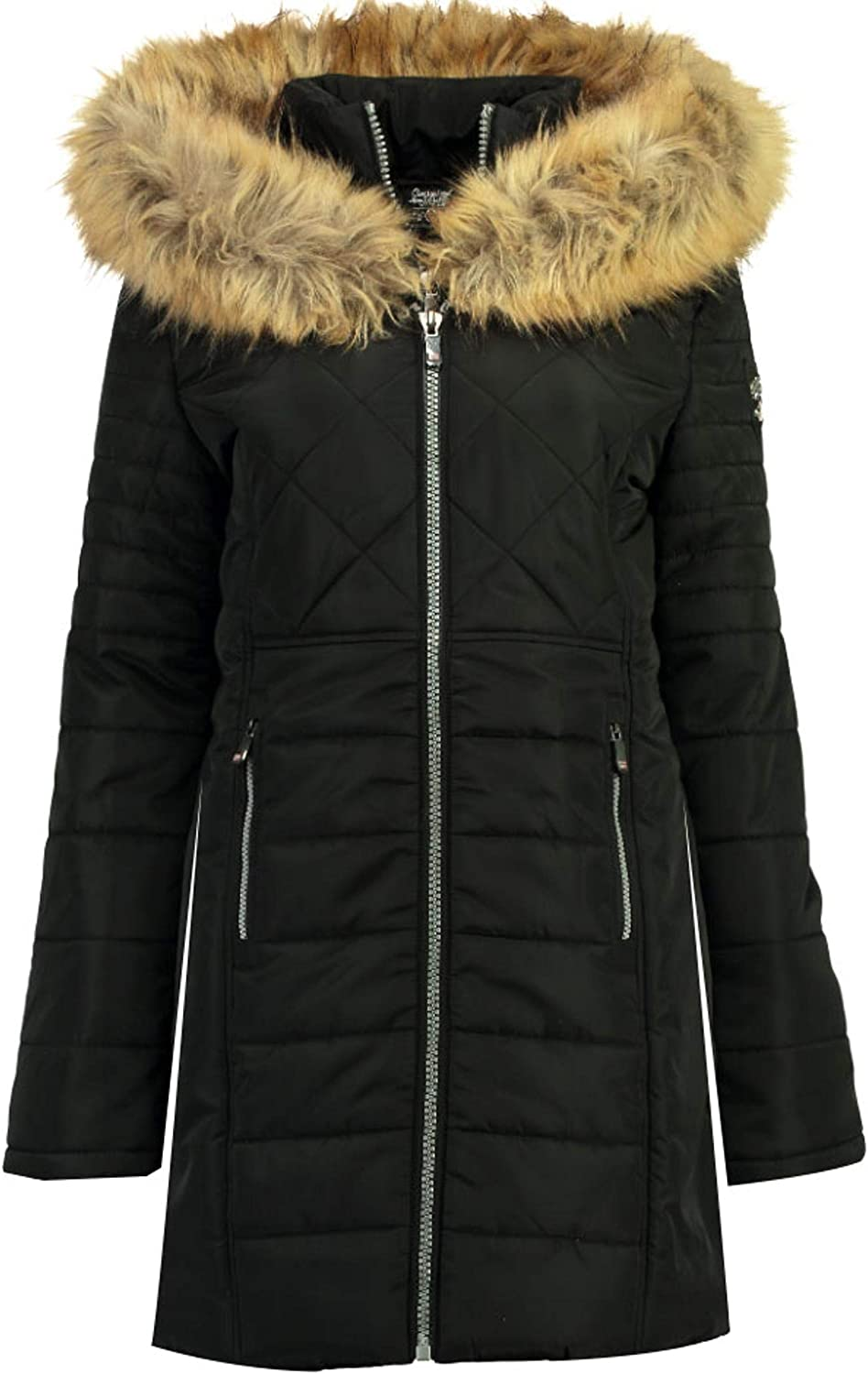 Capuche Fourrure Double Fermeture Geographical Norway Cerise Parka Doudoune Femme