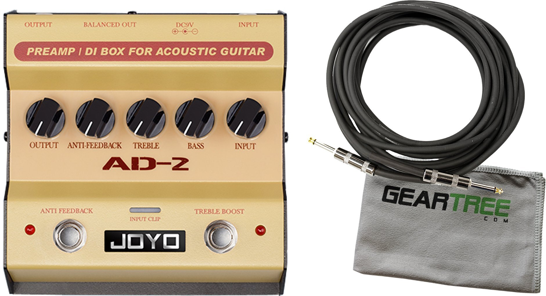 Joyo AD-2 Acoustic Guitar Preamp and DI Box Pedal w/Cable and Cloth