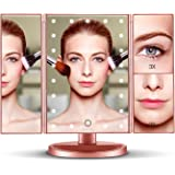 Spaire Vanity Makeup Mirror Trifold with LED lights Dimmable 1X / 2X / 3X Magnifying Countertop Mirror Battery and USB Charging 180 Degree Rotation Touch Screen Rosegold