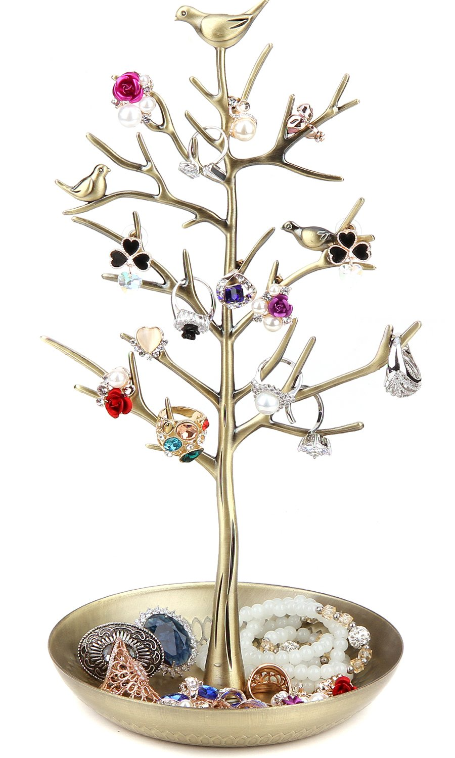 WELL-STRONG Earring Ring Holder Necklace Bird Decoration Jewelry Tower Tree for Girl Gold
