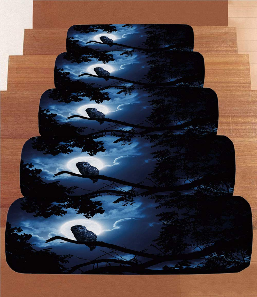 iPrint Non-Slip Carpets Stair Treads,Night,Quiet Night in The Woods Full Moon Tall Trees and Owl on Branch Tranquil Scene Decorative,Black Blue White,(Set of 5) 8.6''x27.5''
