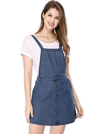 437392a6b08 Allegra K Women's Jean Dress Adjustable Straps Bib Pinafore Denim Overall  Dresses