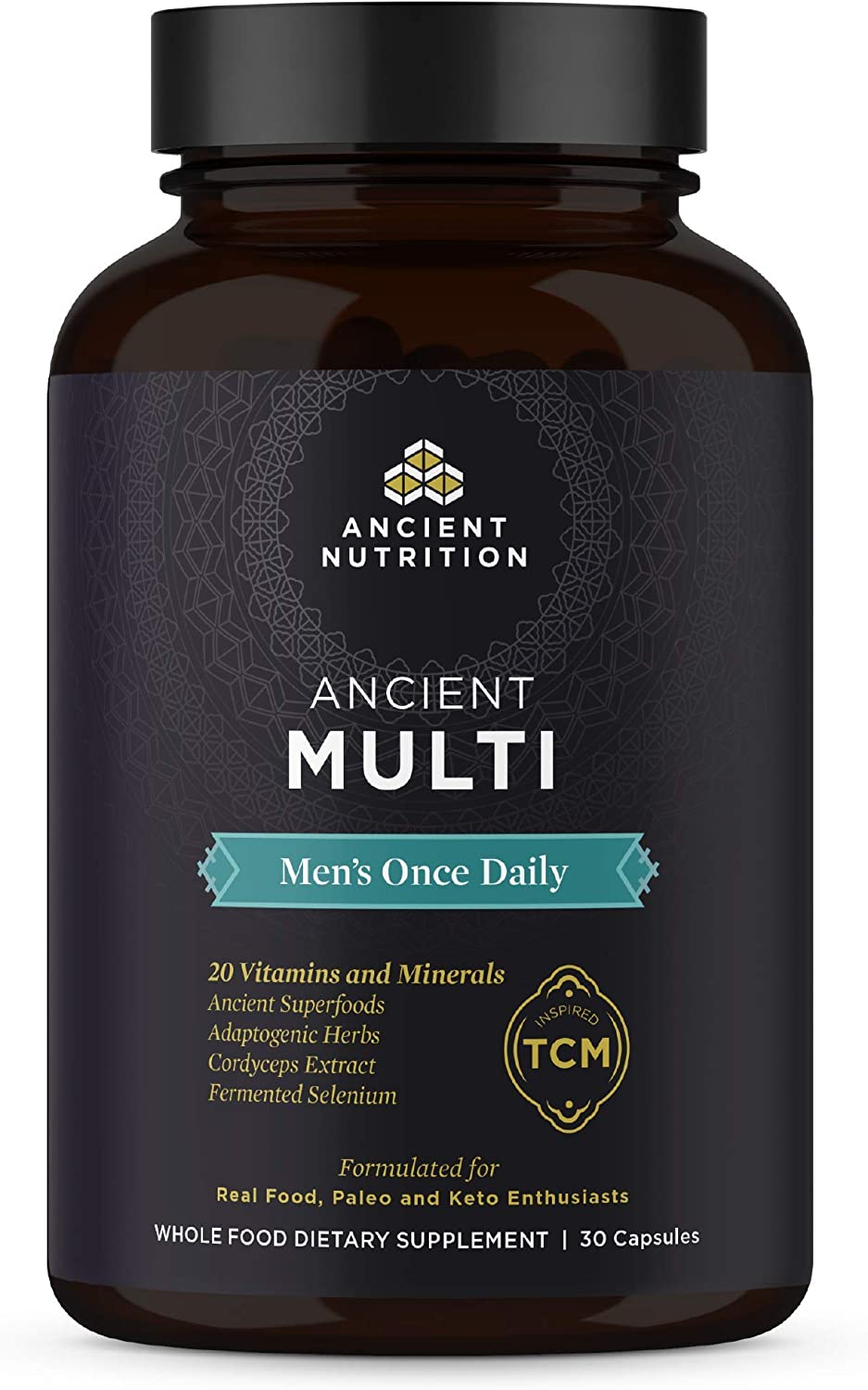 Ancient Nutrition, Ancient Multi Men s Once Daily – 20 Vitamins Minerals, Adaptogenic Herbs, Paleo Keto Friendly, 30 Capsules