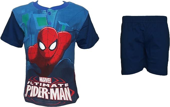 Pigiama Bimbo Puro Cotone Spiderman Manica Corta