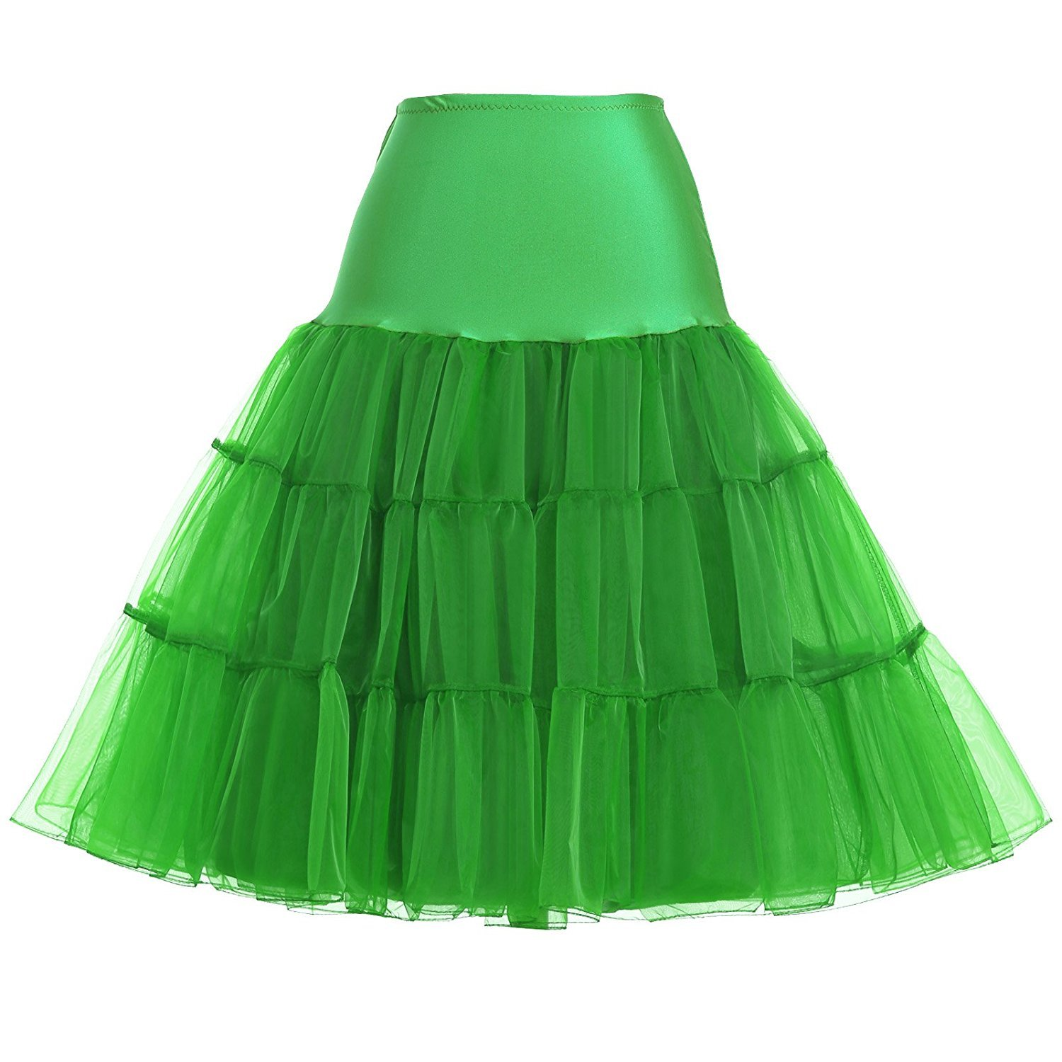 Wishopping Women 1950s Rockabilly Tutu Skirt Crinoline Petticoat P18 Green Size S WP18GN-S