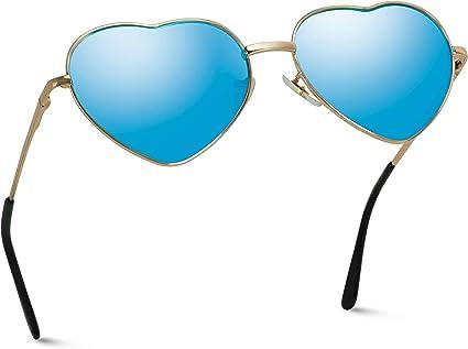 WearMe Pro Gafas reflectantesde mujer con montura de metal en forma de corazón de cupido
