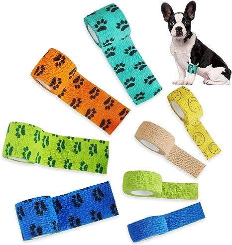 Selbsthaftend Pflasterverband Kohäsive Bandage Fixierbinde für Haustiere Hund