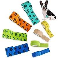 8 Piezas Cinta Adhesiva para Heridas para Perros Vendaje Autoadhesivo para Mascotas Venda De Fijación Flexible y…