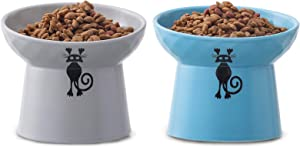 TAMAYKIM Tilted Ceramic Raised Cat Bowls, 8 OZ Food and Water Bowls Set for Kitty, Porcelain Elevated Stress Free Feeding Pet Dish, Dishwasher and Microwave Safe, 2 Pack (Grey & Blue)