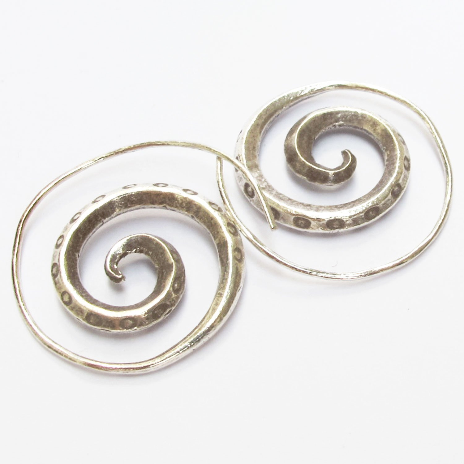 GENUINE NORTH OF THAILAND KAREAN HILL TRIBE 98/% SPIRAL SILVER HANDCRAFT HANDMADE { KAREAN EARRING BOX/_1 } Free Shipping!!
