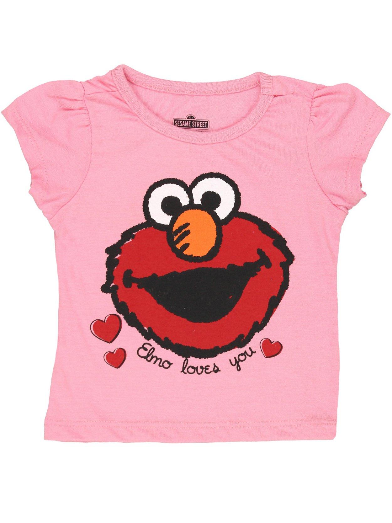 Sesame Street Elmo Girls Short Sleeve Tee (2T, Pink Elmo Loves You)