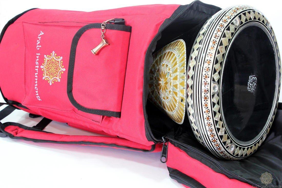 First Class Darbuka / Doumbek Case Bag - Red + Darbuka Keychain Holder by Arab Instruments