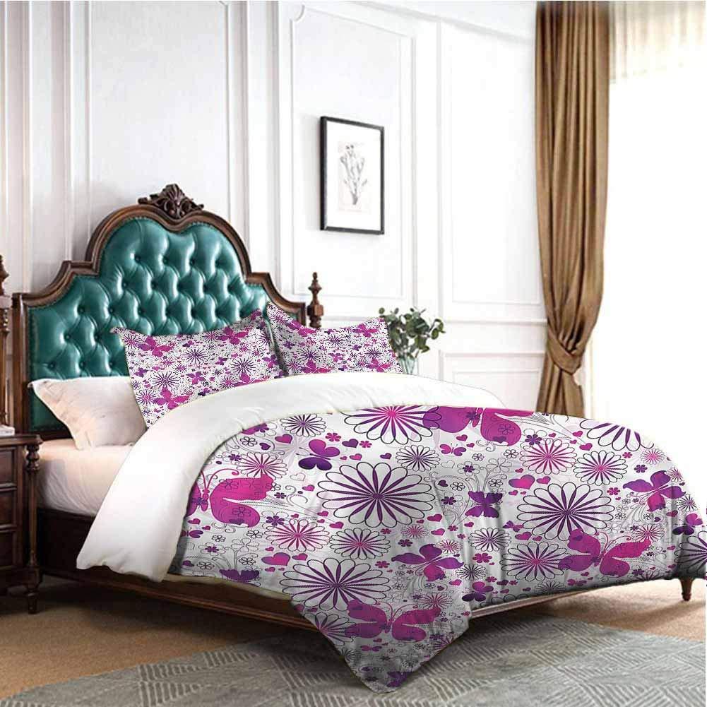 Jktown Butterfly Sheet Set Microfiber Bedding Caterpillar and Flowers Bedding Set for Men, Women, Boys and Girls Queen