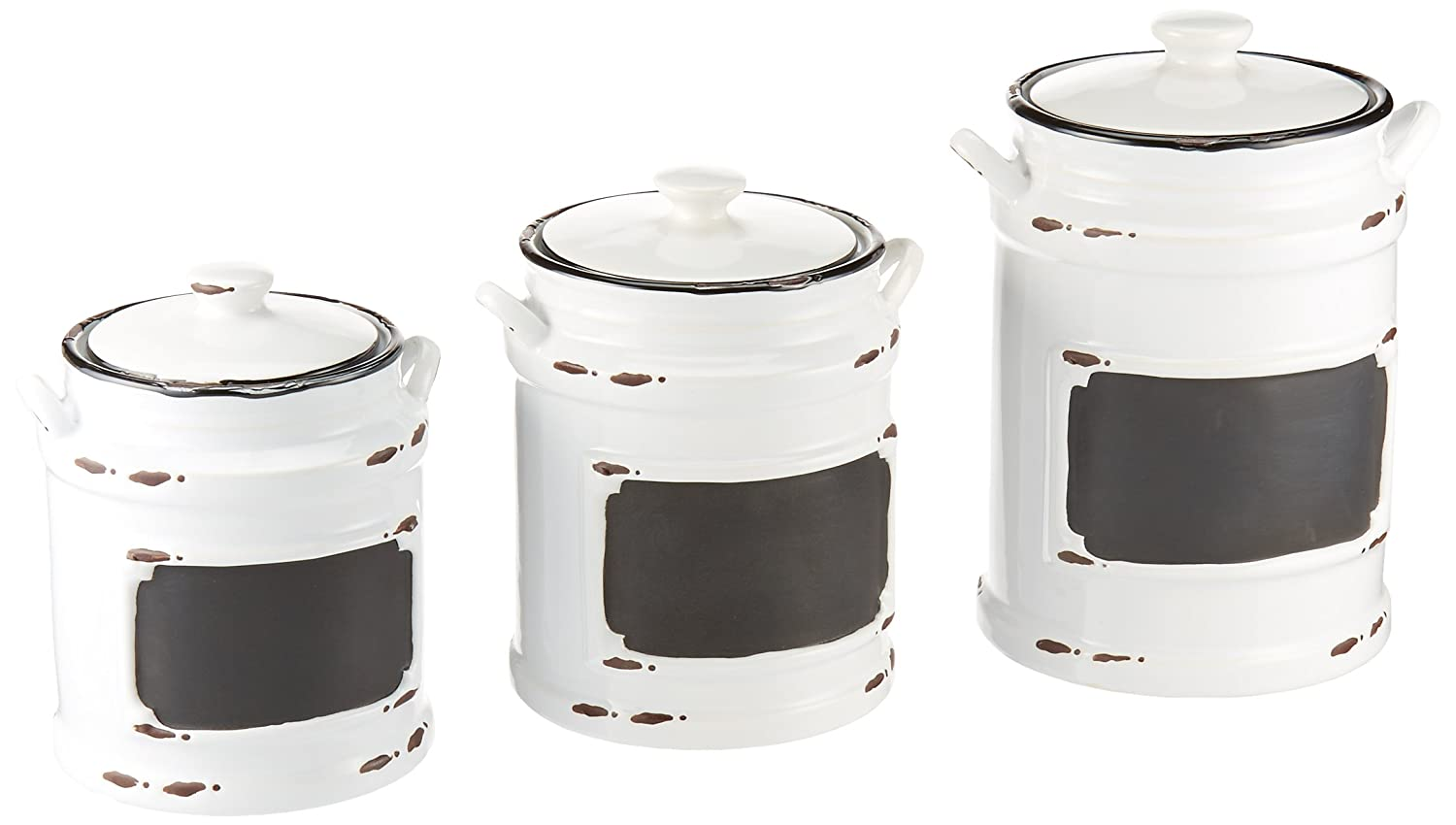 American Atelier 3 Piece Vintage Canister Set, Black 1562159-RB