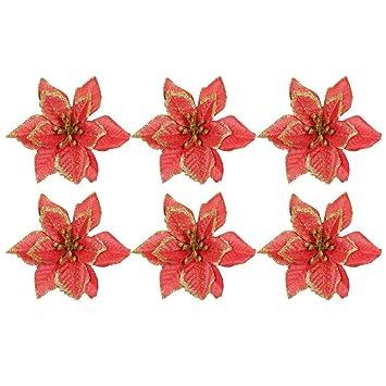 Amazon De 6 Stucke Glitter Kunstliche Blumen Ornamente Dekorationen