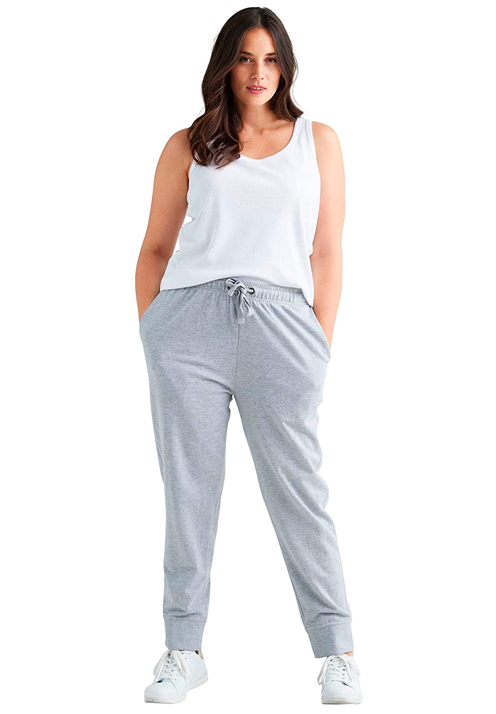 Ellos Womens Plus Size French Terry Drawstring Sweatpants