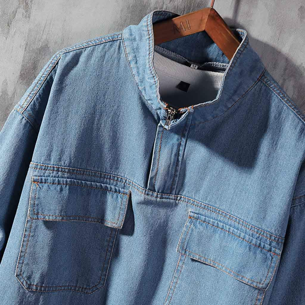 Ultramall Long Sleeve Men's Autumn Fashion Large Size Tooling Casual Jacket Denim Jacket Top Blouse by Ultramall (Image #4)