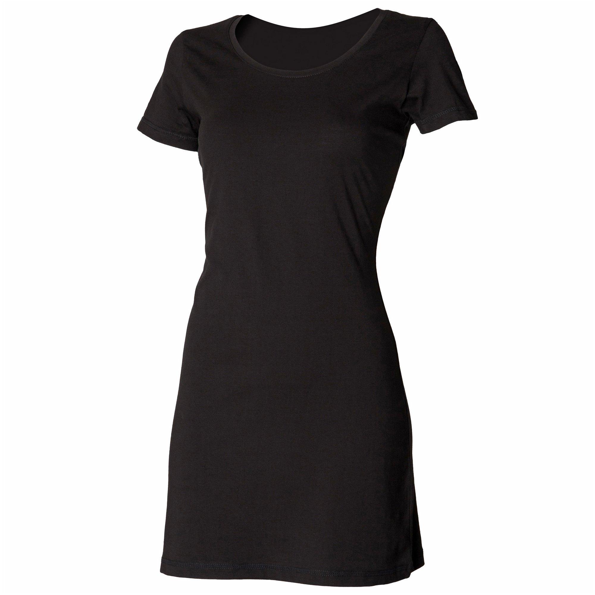 Skinni Fit Ladies/Womens Scoop Neck T-Shirt Dress (XL) (Black)