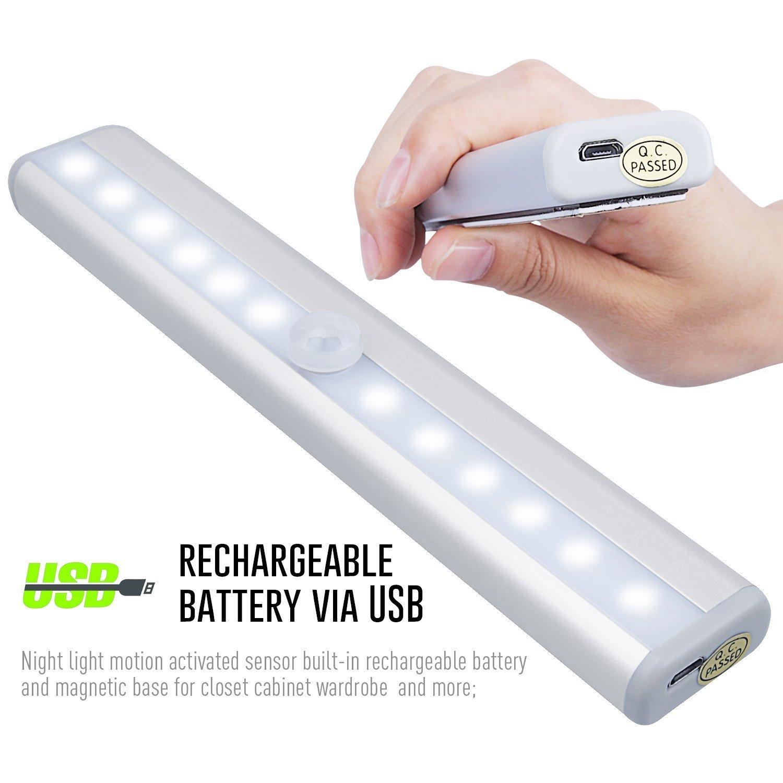 Barra de luz con 10 LED, magnéticas recargables con USB, con sistema de activación por movimiento, encendido y apagado automático: Amazon.es: Iluminación