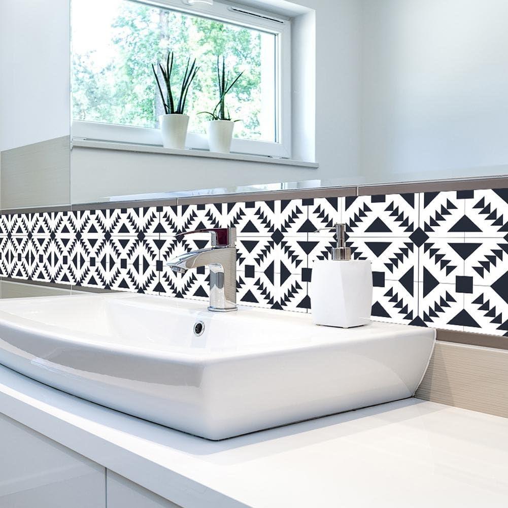 Schwarz und weiß Fliesensticker Fliesenfolie Designfolie
