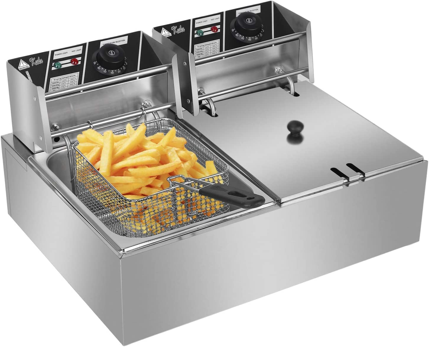 QISE Heavy Duty Deep Fryer, Stainless Steel Large Double Cylinder Electric Fryers with Removable Basket and Professional Heating Element 110V/5000W Max US Plug (12.7QT/12.7L)