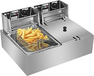 ColorJoy Commercial Deep Fryer with 2 Baskets,12.7QT/12L 5000W Countertop Deep Fryer Electric Dual Tank Deep Fryer, Heavy Duty Stainless Steel Electric Deep Fryer