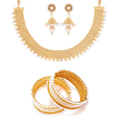 Buy Zeneme Traditional Gold Plated Wedding Necklace Set   Bangle Set  Jewellery for Womens   Girls Online at Low Prices in India  56335bfeab