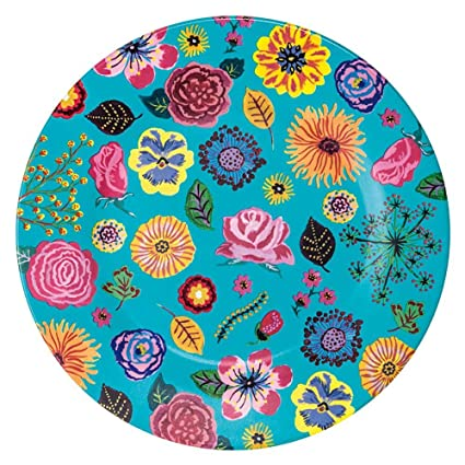 Kinderteller Melaminteller Plastik Babyteller Kindergeschirr Servierteller bunt BPA frei Petit Jour Paris Blumenwelt Teller t/ürkis aus Melamin 23 cm