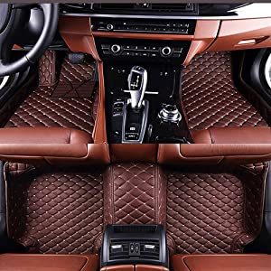 VENMAT Car Floor Mats Custom Made for Alfa Romeo Giulia 2017-2019 Foot Carpets Faux Leather All Weather Waterproof 3D Full Surrounded Anti Slip Mat (Coffee)